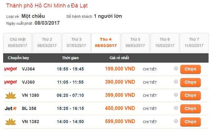 Bảng giá vé máy bay Sài Gòn - Đà Lạt tháng 3